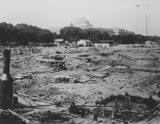 Photograph of the Construction of the Foundation for the National Archives Building, Washington, D.C.