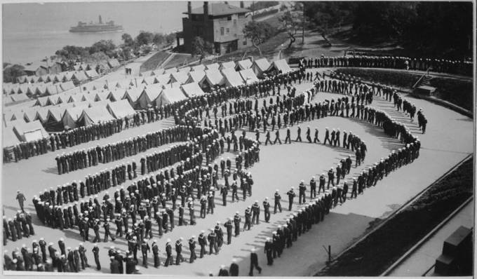 Mess formation, detention barracks, Naval Training Station, San Francisco, California., ca. 1918