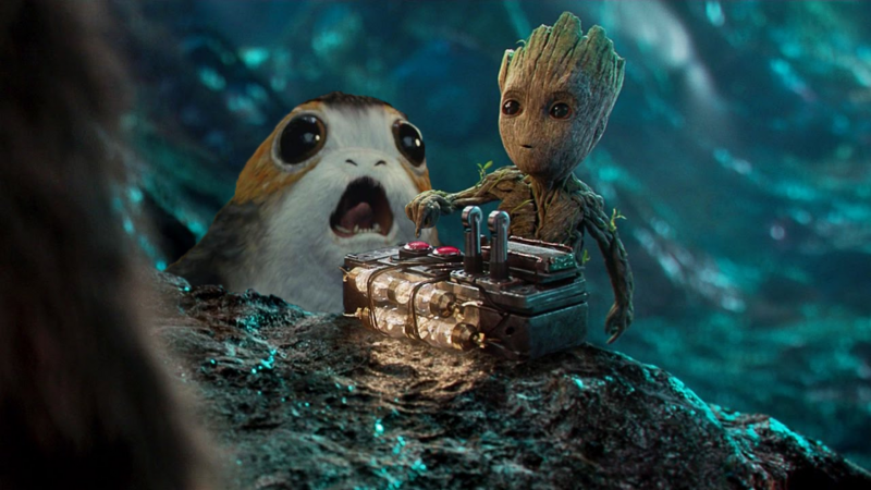 Guardians of the galaxy 2 with a porg