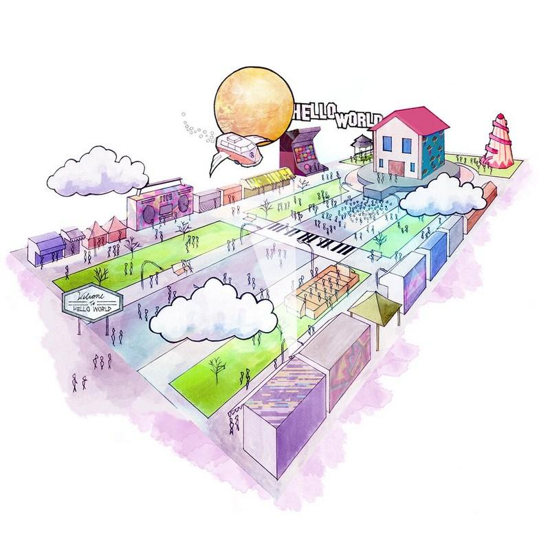 Drawing of Hello World main street