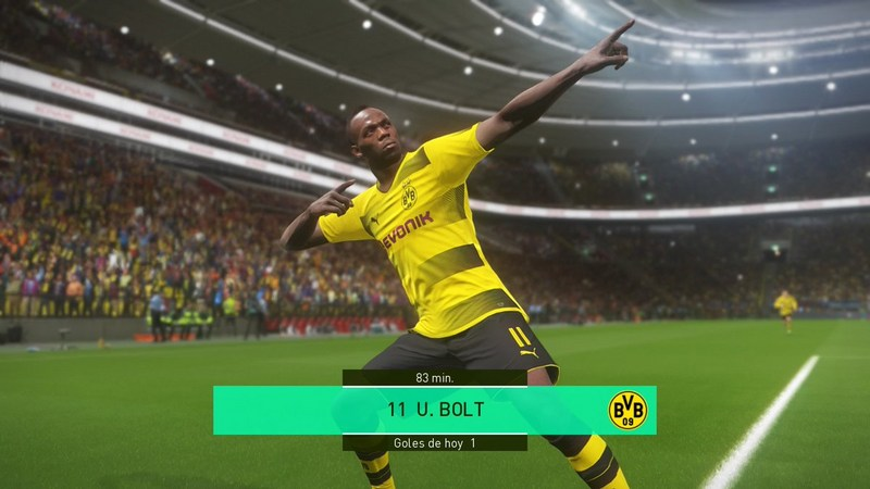 Usain Bolt out on the pitch