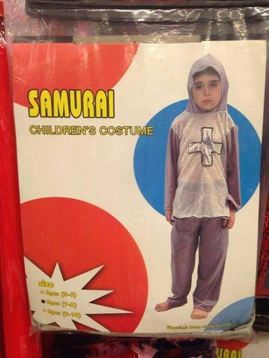 Samurai costume that is a small knight without shoes on
