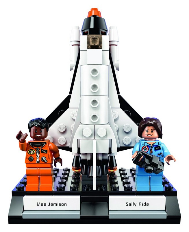 Mae Jemison and Sally Ride and a rocket made of LEGO