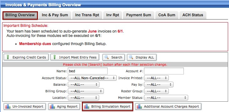 What Bills On The First In The Automated Billing System TeamUnify - Invoice payment system