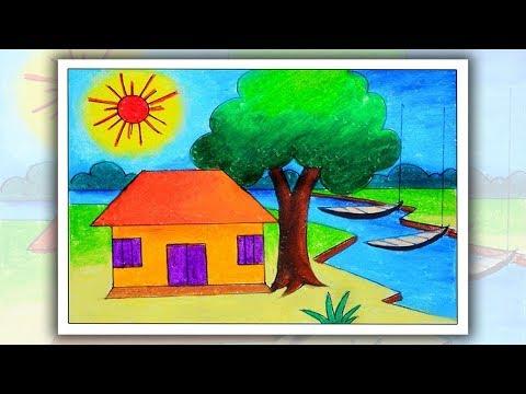 How To Draw Village Scenery For Kids Easy Village Drawing U Hatekhari