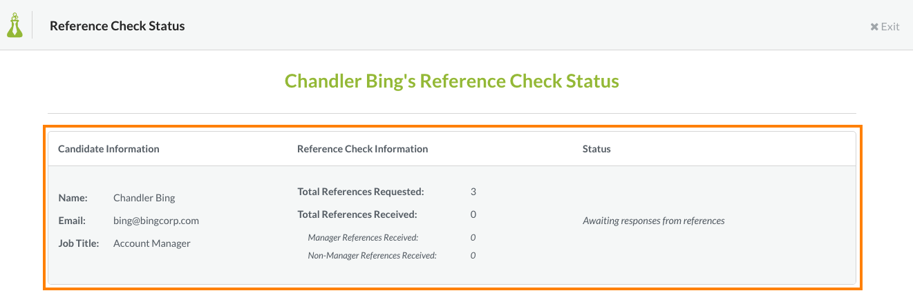 additionally you can see the progress being made on this candidates reference check by viewing the status page in your hireology account - Reference Checking References Questions Reference Check Form