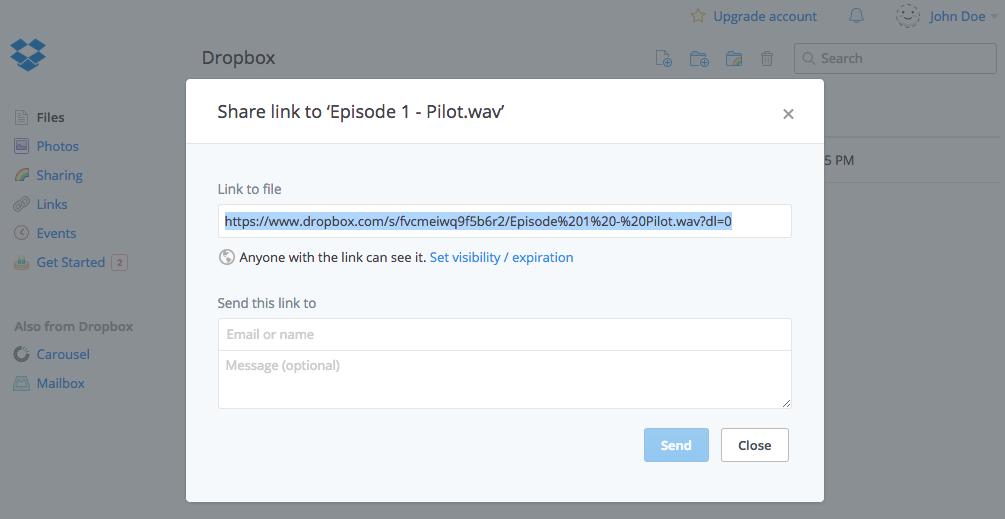 Uploading episodes via Dropbox – Knowledge Base and Feedback