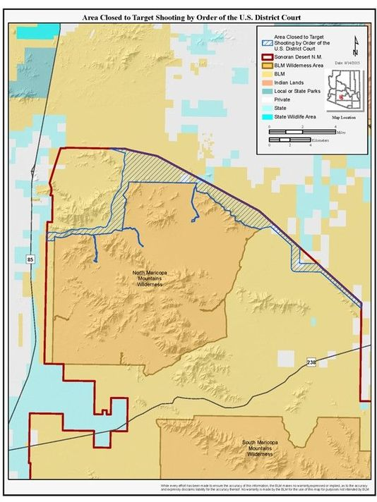 Map Of Arizona Blm Land.Portion Of Sonoran Desert Monument Closed To Target Shooting