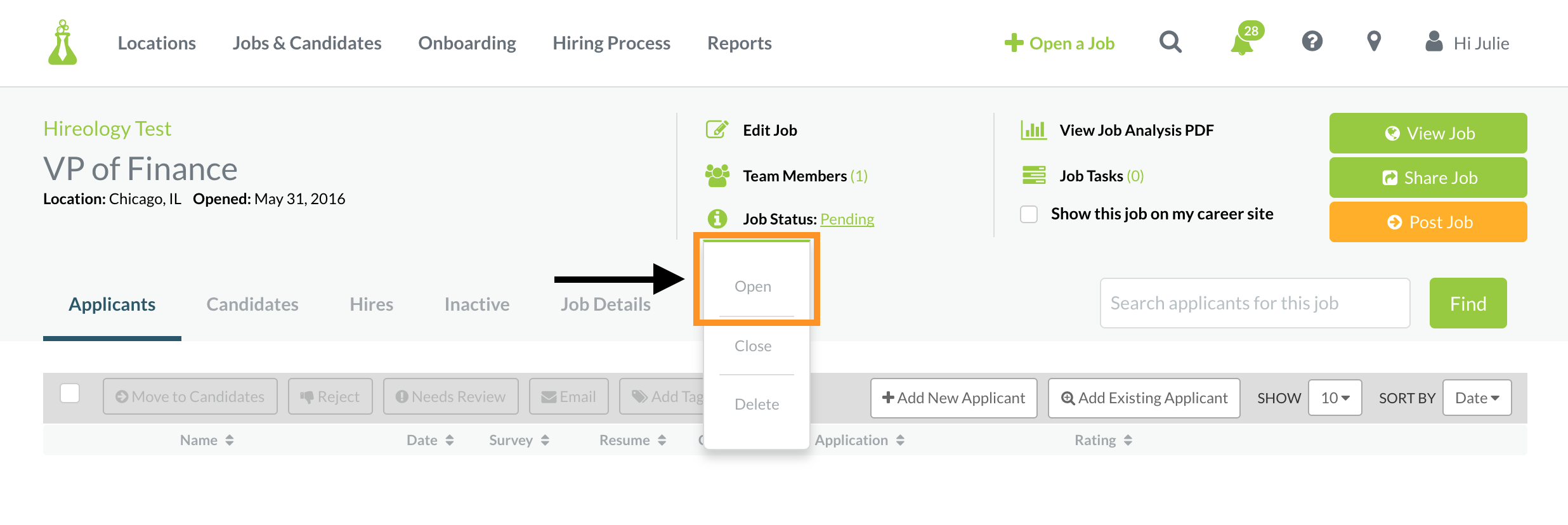 how do i clone a job customer feedback for hireology step five when you are ready make sure to change the job status to open