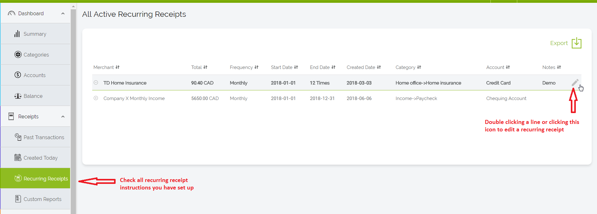 how to create a recurring receipt customer feedback for foreceipt