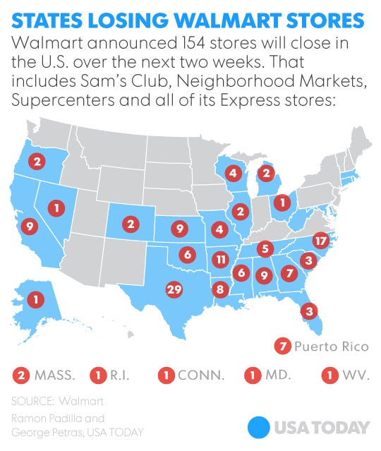 Top Retailers That Are Closing Stores In - Map of walmart locations in us