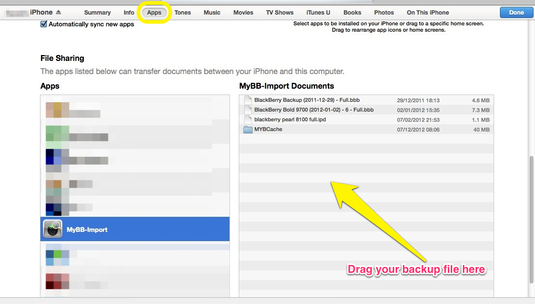 Using iTunes to copy a backup file to an iPhone or iPad