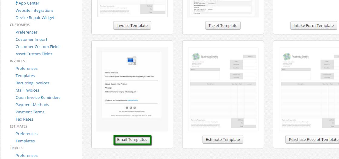 Customizing Emails RepairShopr Help Center - Estimate email template
