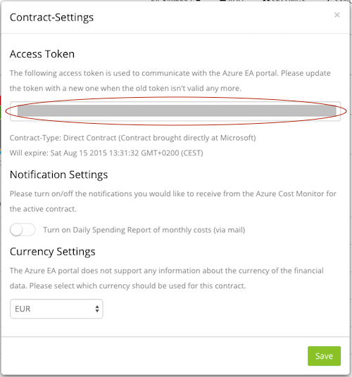Renew the Azure EA token when it expires – Customer Feedback