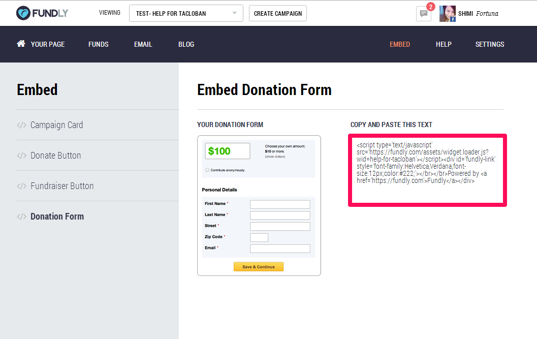 How can I embed my donation form on a webpage? – Fundly Support Center