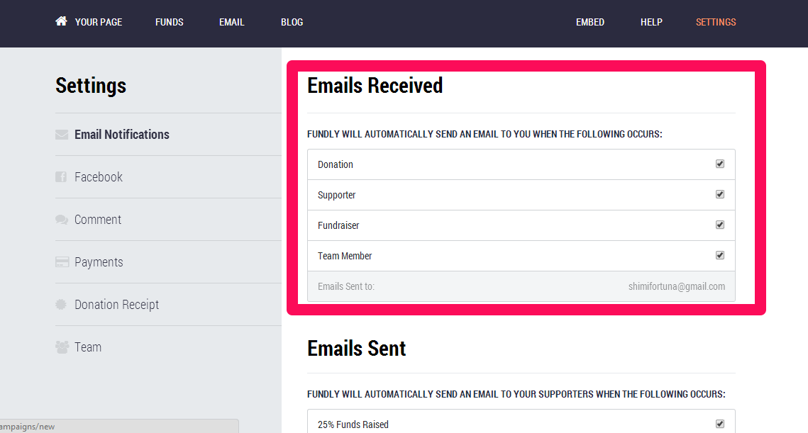 note even if you turn off all notifications fundly may sometimes need to email you important notices about your account