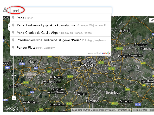 Default country for places API (google maps) – Customer