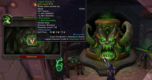 You Can Obliterate Legion Season 3 Pvp Gear In Dalaran And Get