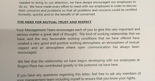 My Girlfriend Works At Rogers Place She Received This Letter Trying