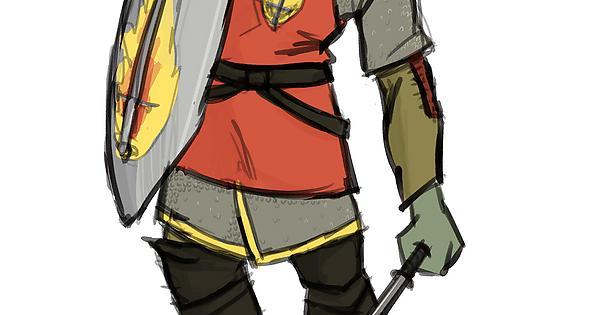 RF] Garl Bru'Tak, Half-Orc Paladin of Tempus : characterdrawing