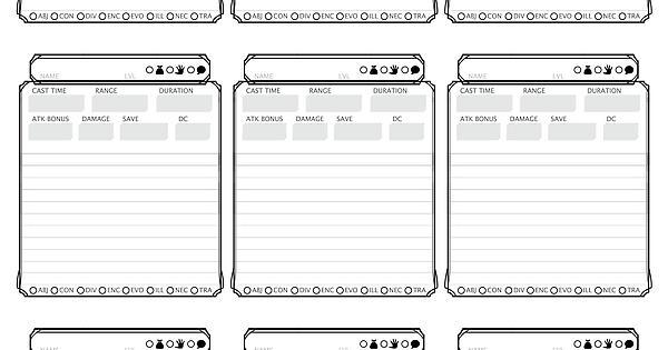 Spell Cards (Sheet & Single) : dndnext
