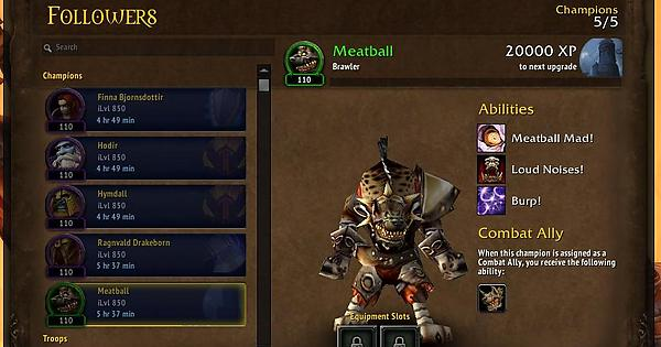 new order hall champion meatball wow