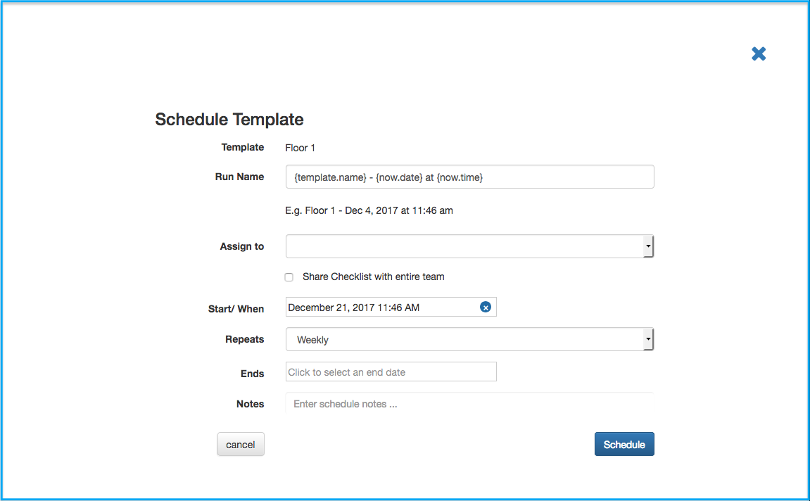 Scheduling Templates – Customer Feedback for Checklist.com