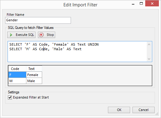 Working with Database Import/Tree-View Filters – SQL Spreads